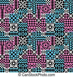 Geometric Patchwork Pattern Pink-Blue