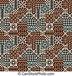 Geometric Patchwork Pattern_Blue-Brown