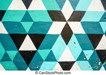 Geometric pattern of blue, black and white colors