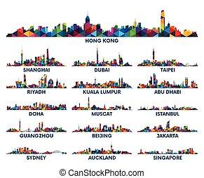 Geometric pattern skyline city Arabian Peninsula and Asia