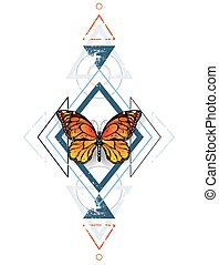 Geometric pattern with monarch butterflies