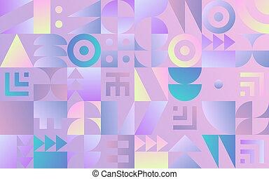 Geometric pattern with retro styled vaporwave shapes