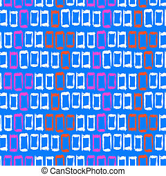 Geometric pattern with small hand painted squares