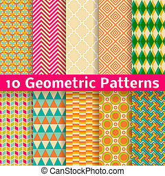 10 Geometric patterns (tiling). Set of vector seamless abstract vintage backgrounds. Retro orange, pink and blue colors. Endless texture can be used for printing onto fabric and paper or scrap booking
