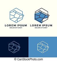 geometric polar bear logo vector line art outline download