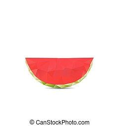 Geometric polygonal fruit, triangles, watermelon, vector illustr