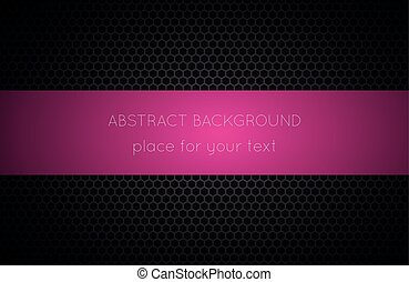 Geometric polygons background with pink place for your text, abstract black metallic wallpaper, vector illustration
