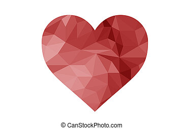 geometric red low poly heart - geometric red made of ...