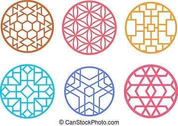 Geometric round Chinese pattern window frame
