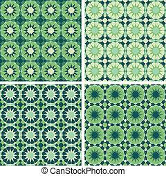 Geometric Seamless Pattern - 4-piece set of geometric...