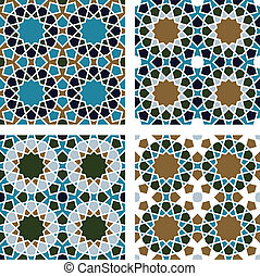 Geometric Seamless Pattern - 4-piece set of geometric...