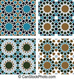 4-piece set of geometric seamless patterns