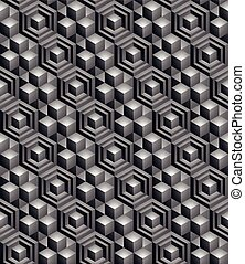 Geometric seamless pattern, endless black and white vector ...