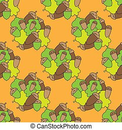 Geometric seamless pattern in ecological style with oak leaves and acorns. Wallpaper. Wrapping paper. Scrapbook. Vector illustration. Background. Graphic texture for your design, wallpaper.