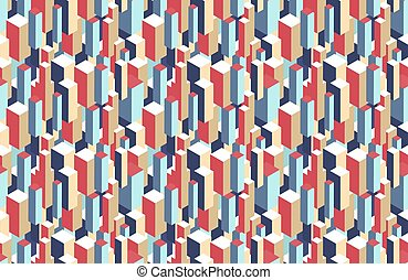 Geometric seamless pattern of 3d blocks