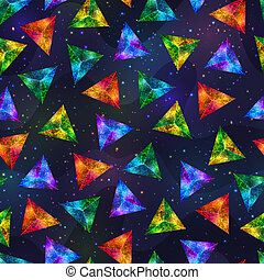 Geometric Seamless Pattern of Bright Colorful Triangles on Stylized Night Sky.
