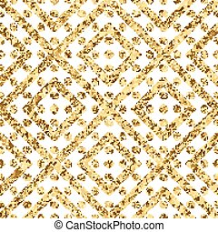Geometric seamless pattern of gold diagonal lines and circle