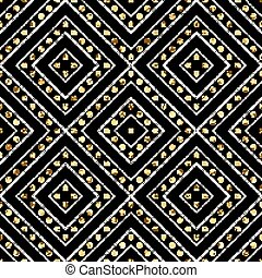 Geometric seamless pattern of gold silver diagonal lines and circle