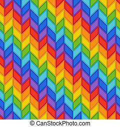 Geometric Seamless Pattern of Rainbow Stripes of Blue, Orange, Red, Green, Violet, Yellow Rhombs.