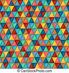 Geometric Seamless Pattern of Triangles of Blue, Brown, Coral, Green, Grey, Turquoise, Yellow Colors.