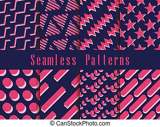 Geometric seamless pattern set. Geometric figures with a shadow in the style of the 80s. Vector illustration