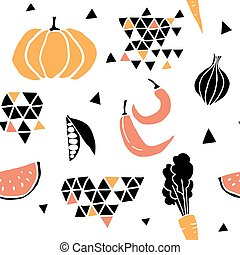 Geometric seamless pattern with fruits, vegetables