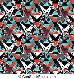 geometric seamless pattern with spots of paint