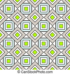 Geometric seamless Pattern with Squares in Beige, Lime Green and Blue Color.