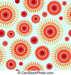 Geometric seamless pattern with stylized sun sign