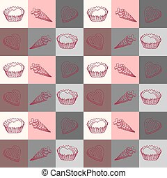 geometric seamless pattern with sweets