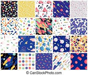 Geometric seamless patterns. - Colorful geometric background...