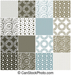 geometric seamless patterns: dots, circles and waves