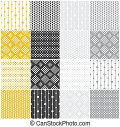geometric seamless patterns: dots, squares - set of 16...