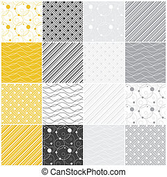 geometric seamless patterns: dots, waves, stripes