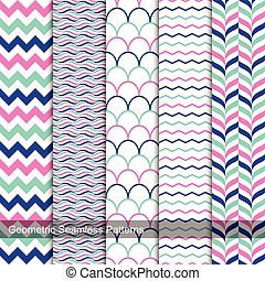 Geometric seamless patterns in memphis colors.