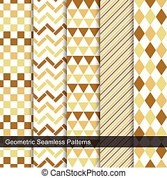 Geometric seamless patterns in retro colors.