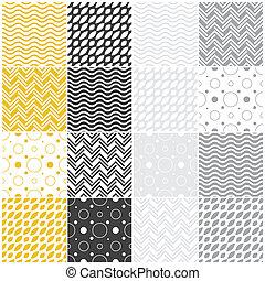 geometric seamless patterns: polka dots, waves, chevron -...