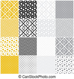 geometric seamless patterns: squares, polka dots, chevron
