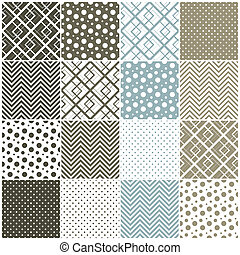 geometric seamless patterns: squares, polka dots, chevron