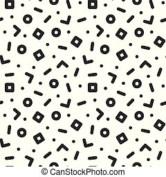 Geometric seamless trendy pattern in retro memphis style, fashion 80s - 90s. Black and white mosaic texture