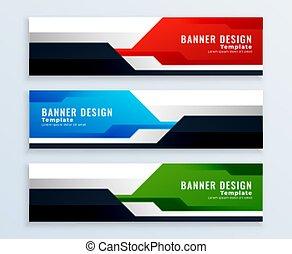 geometric set of banner designs in multicolors