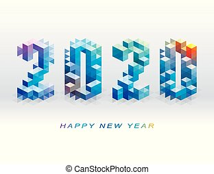 Geometric shape 2020 Happy New Year logo design.