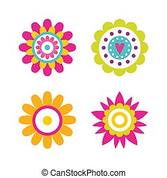 Geometric Shape Flowers Heart and Dots, Abstract