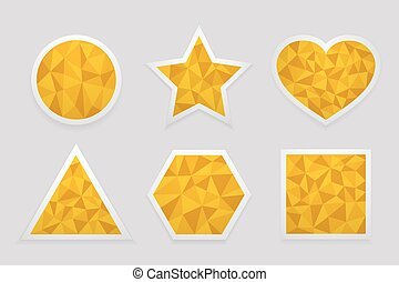 Geometric shape from triangles. Set of yellow labels