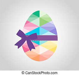 Geometric shape of egg. Easter egg triangular and isolated on round background. Label design. Easter template