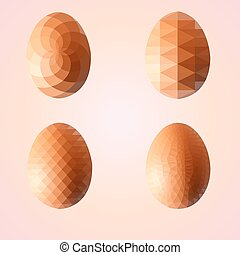 Geometric shape set of egg. Easter egg triangular and isolated on pink background. Label design. Easter template