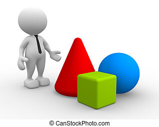 3d people - man, person with geometric shapes - circle, cone, square