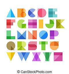 Geometric shapes alphabet letters