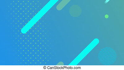 Geometric shapes and circles moving on blue to green background
