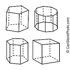 Geometric Shapes Colorless Vector Illustration